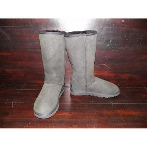 New Womens UGG Classic Tall Black Sheepskin Boots